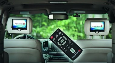 Подголовники Polyvox с встроенным монитором и автоматической выдвижной шторкой