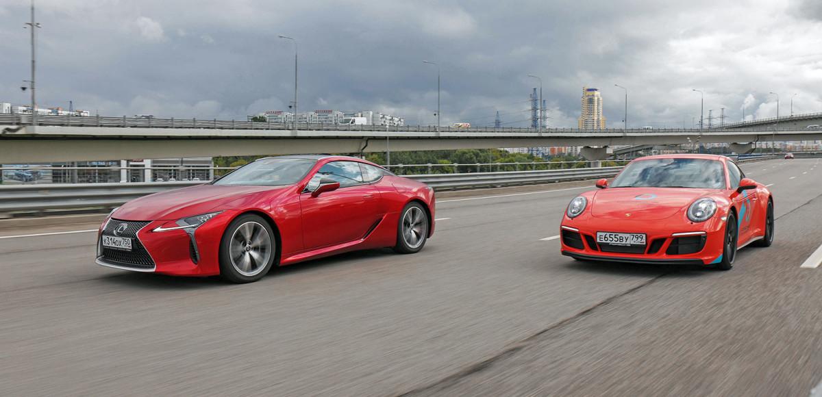Lexus LC 500 против Porsche 911 Carrera GTS. Сравнение на контрастах