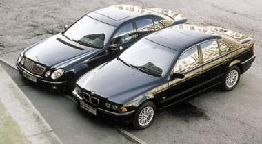 Mercedes-Benz E-class vs BMW 530i Lux. Первое лицо