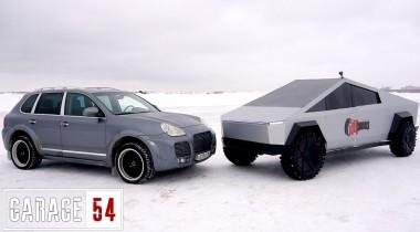 Сибирский Tesla Cybertruck померился силами с Porsche Cayenne