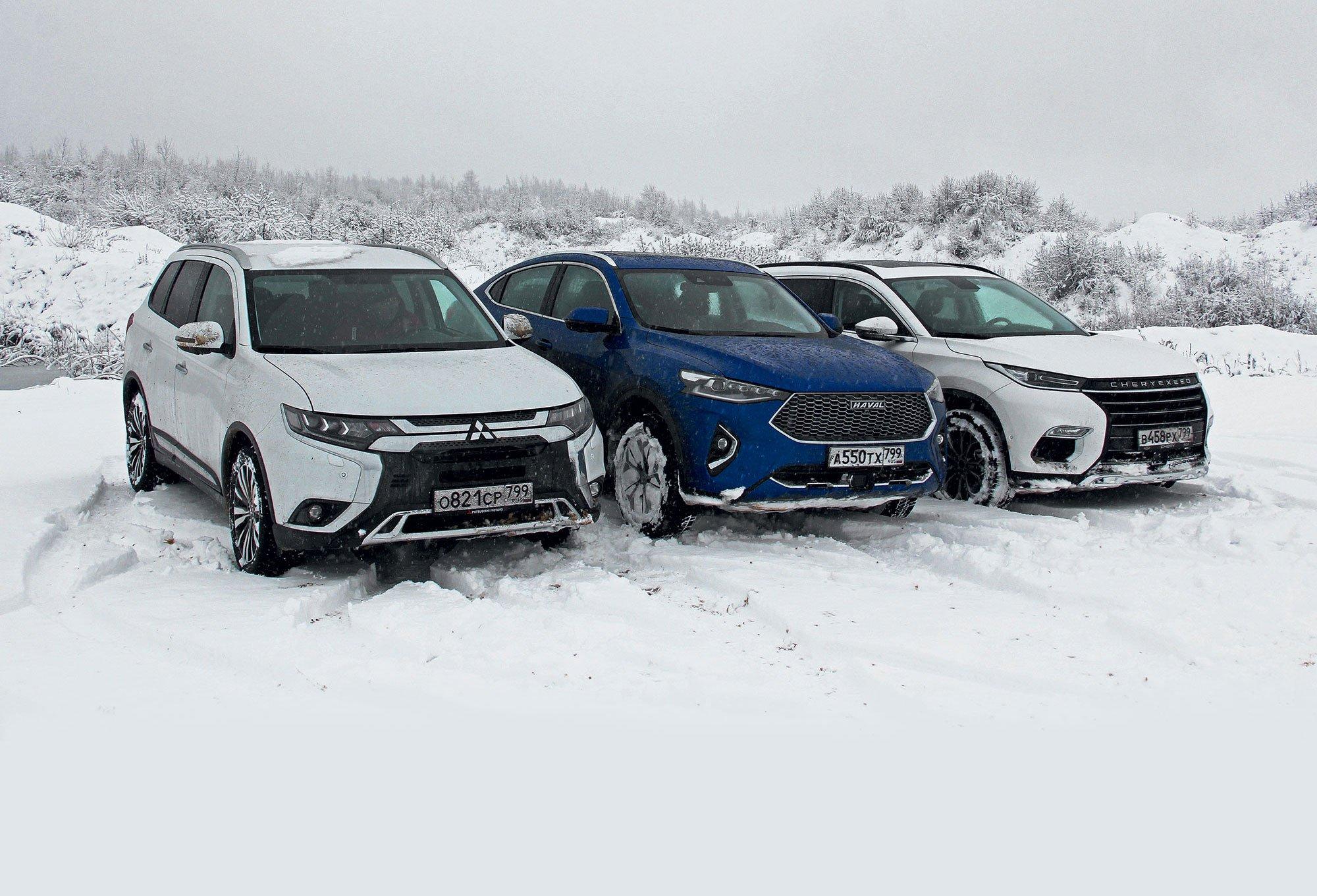 Сравнили Mitsubishi Outlander с CheryExeed TLX и Haval F7x. Старый «японец» лучше двух новых «китайцев»?