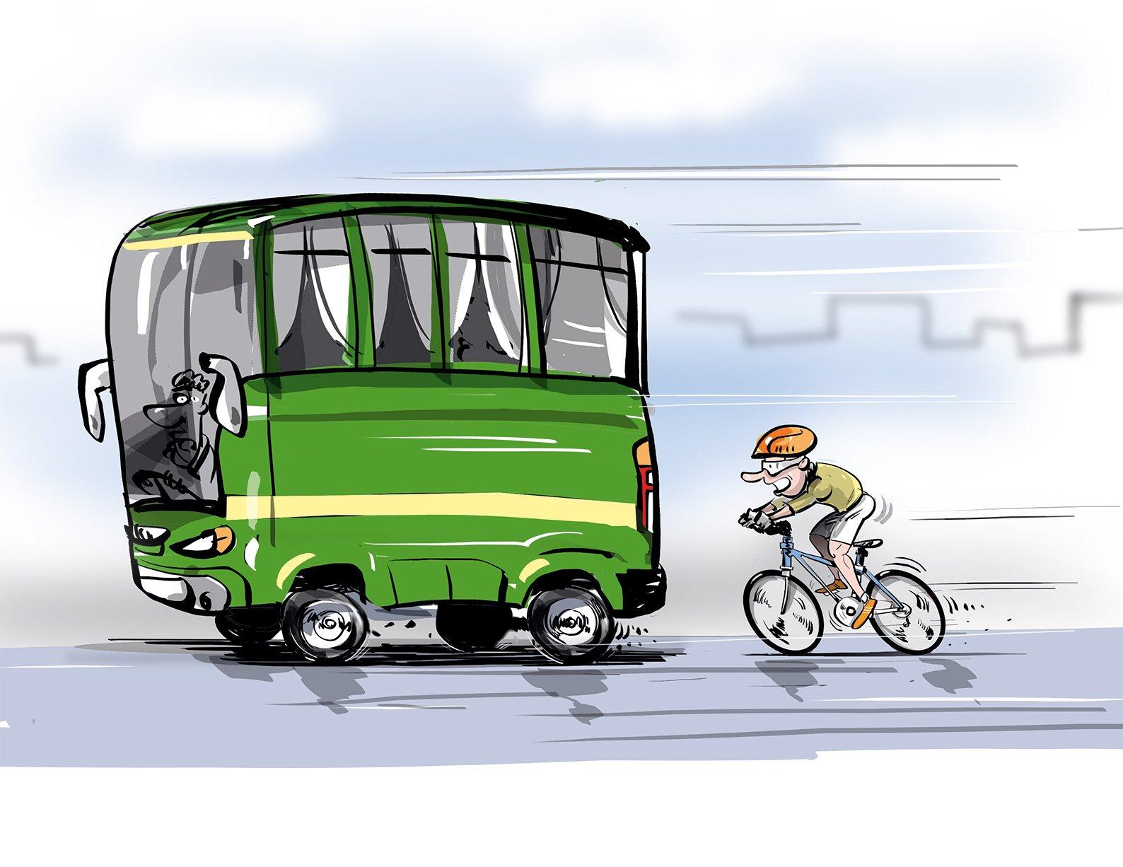 Истории про то, как велосипедист гнался за автобусом и ленивого гаишника
